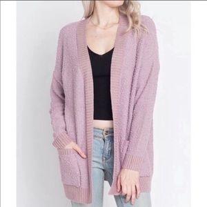 Lavender Popcorn Cardigan Sweater